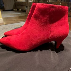 Shoes - Red Pointy Toe Ankle Boots